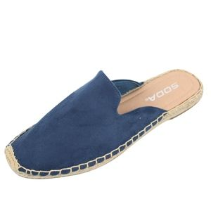 Shoes - Blue Crochet Stitching Slip On Flat Sandal